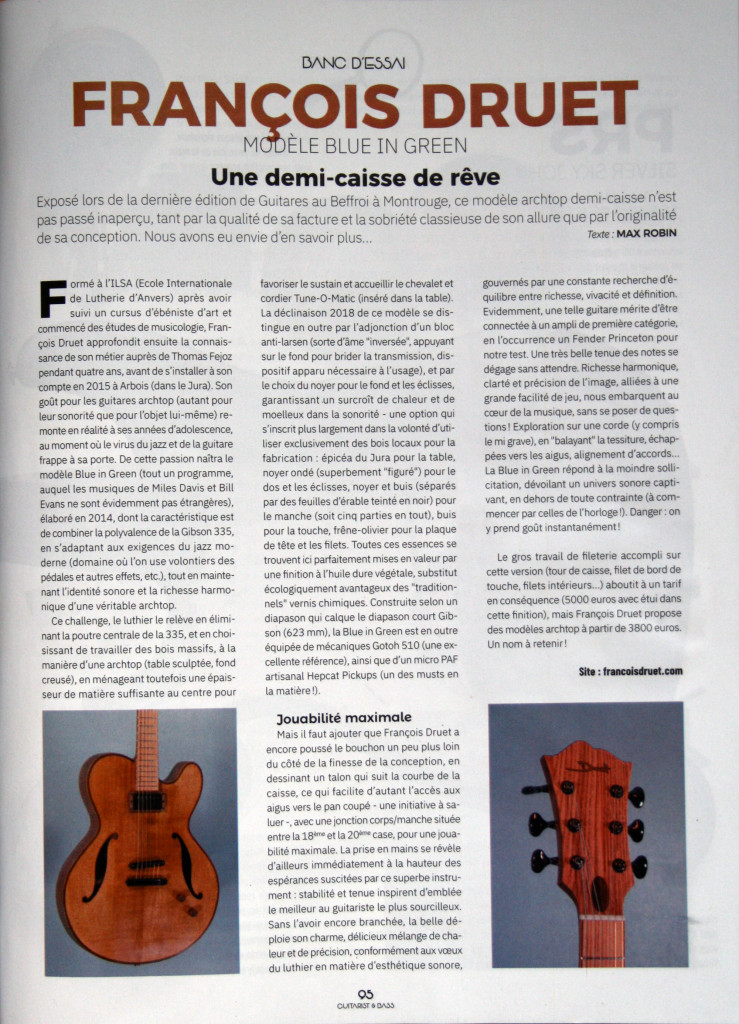 Article Guitarist mag - Blue in Green- texte